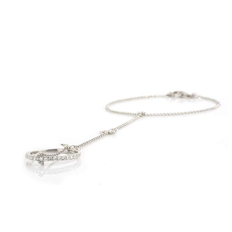 18k White Gold Diamond Set Butterfly Bracelet & Ring Chain